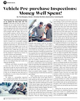 vehicle pre-purchase inspection article