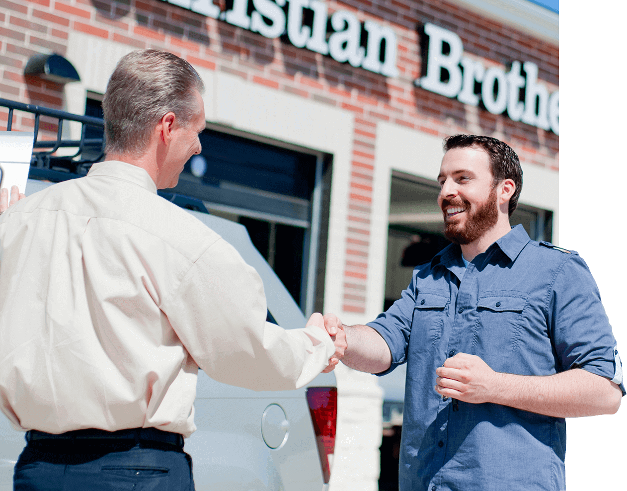 Christian Brothers employee and client shaking hands